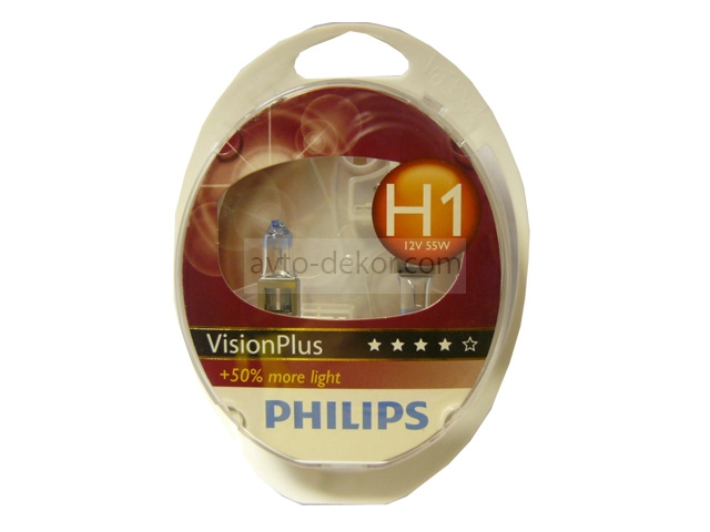 Автолампа H1 (55) P14.5s+50% VISION PLUS MORE LIGHT 12V PHILIPS P-12258VPS2 (евробокс 2 шт)  100618