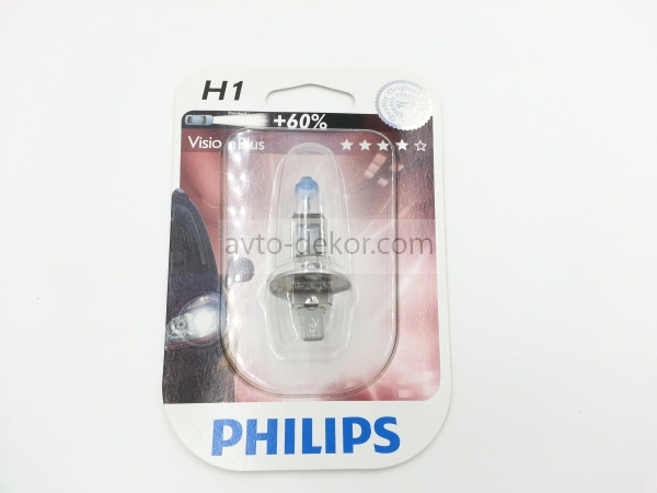 Автолампа H1 (55) P14.5s+60% VISION PLUS MORE LIGHT 12V PHILIPS P-12258VPB1 (блистер)  2040