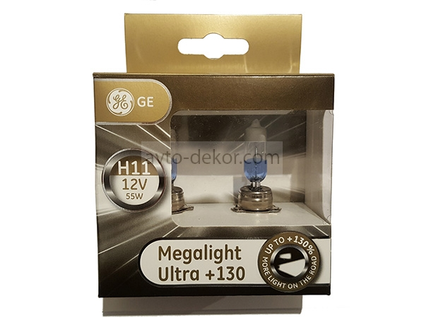 Автолампа H11 12V-55W (PGJ19-2) Megalight Ultra +130 General Electric 93040088 (53110XNU) (евробокс 2шт)  2455