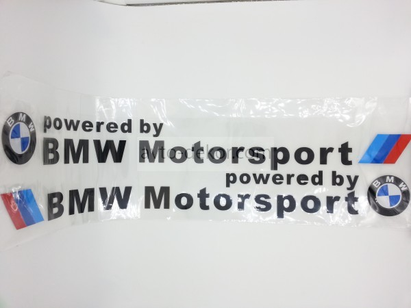 Наклейка BMW Powered by BMW Motorsport черная 550*54 мм (2шт)  5793